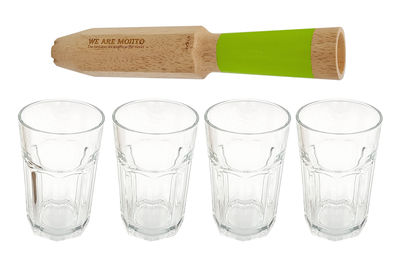 Tableware - Wine Glasses & Glassware - We Are Mojitos Mojito set - / 4-in-1 measuring pestle + 4 glasses by Cookut - Wood & green / Transparent - Glass, Wood