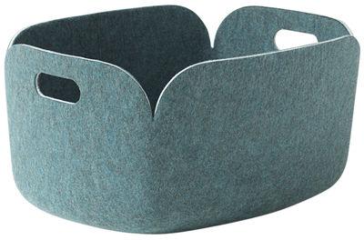 Déco - Paniers et petits rangements - Panier Restore / Feutre - 35 x 48 cm - Muuto - Vert-bleu aqua - Feutre recyclé