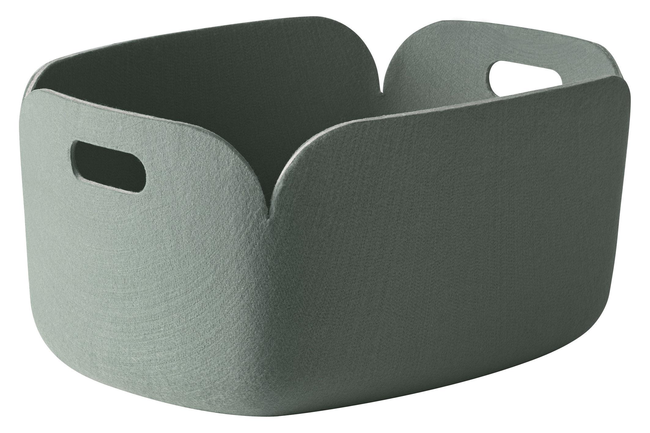 Déco - Paniers et petits rangements - Panier Restore / Feutre - 35 x 48 cm - Muuto - Vert cendre - Feutre