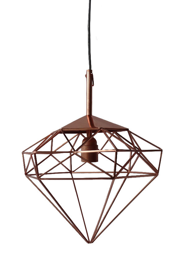 Lighting - Pendant Lighting - Diamant S Pendant by Pols Potten - Copper / Small - H 34 cm - Iron with copper finish