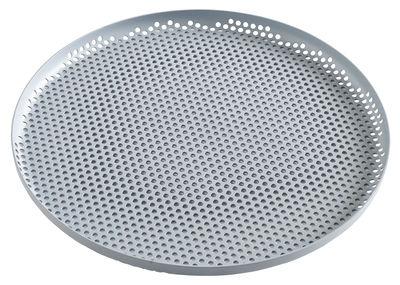 Arts de la table - Plateaux - Plateau perforated / Large - Ø 35 cm - Hay - Bleu-gris - Aluminium perforé
