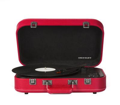 Noël design - Cadeaux insolites - Platine vinyle Coupe / portable - Bluetooth - Crosley - Rouge / Similicuir - Bois, Feutre, Matière plastique, Similicuir