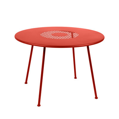 Outdoor - Garden Tables - Lorette Round table - / Ø 110 cm - Perforated metal by Fermob - Orangey-red - Lacquered steel