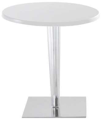 Furniture - Dining Tables - Top Top Round table - Lacquered round table top by Kartell - White/ square leg - Aluminium, Lacquered polyester, PMMA