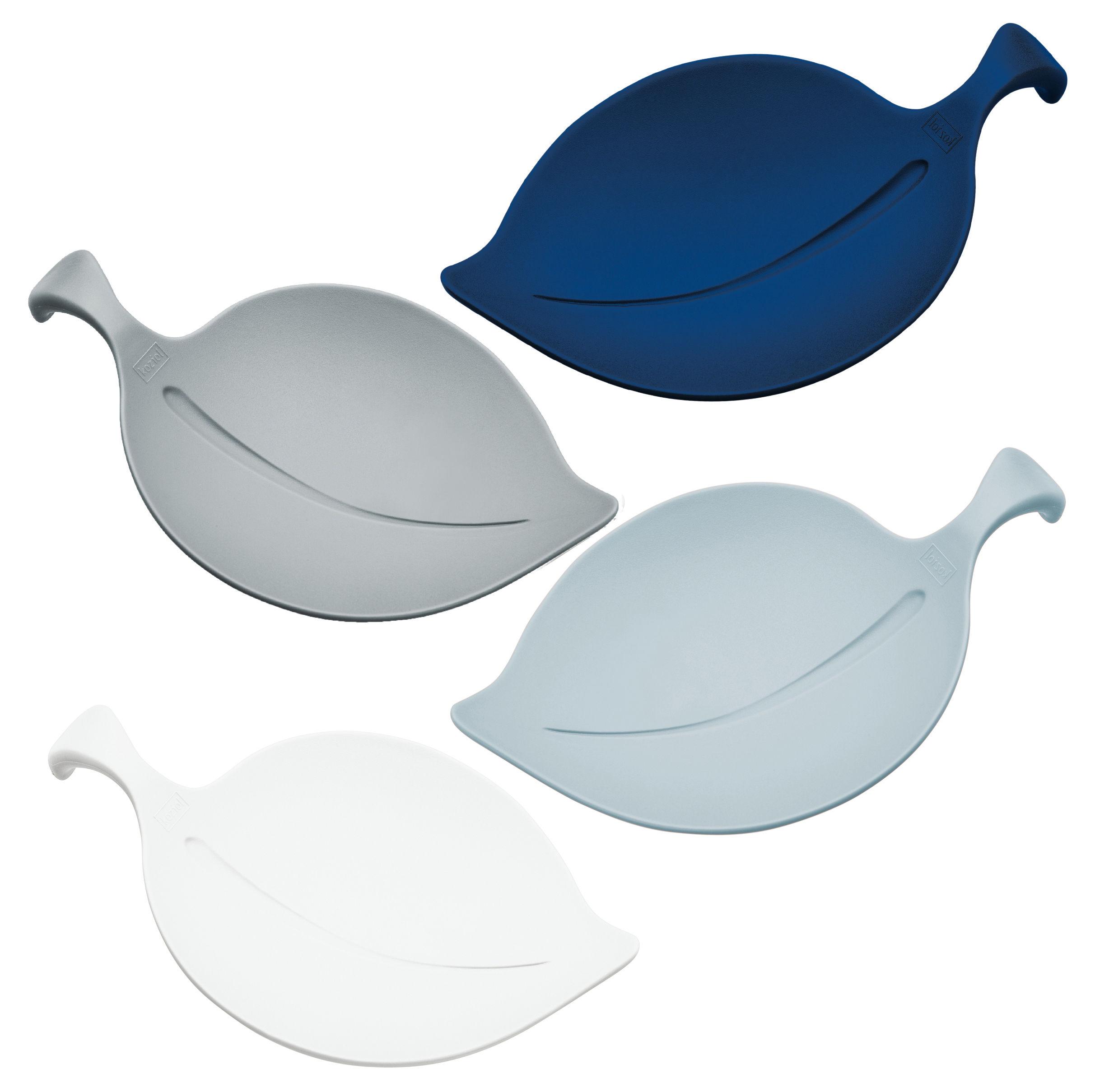 Tischkultur - Salatschüsseln und Schalen - Leaf-on Schale / Ø 14 cm - 4er-Set - Koziol - Hellgrau / blau / hellblau / weiß - Plastik