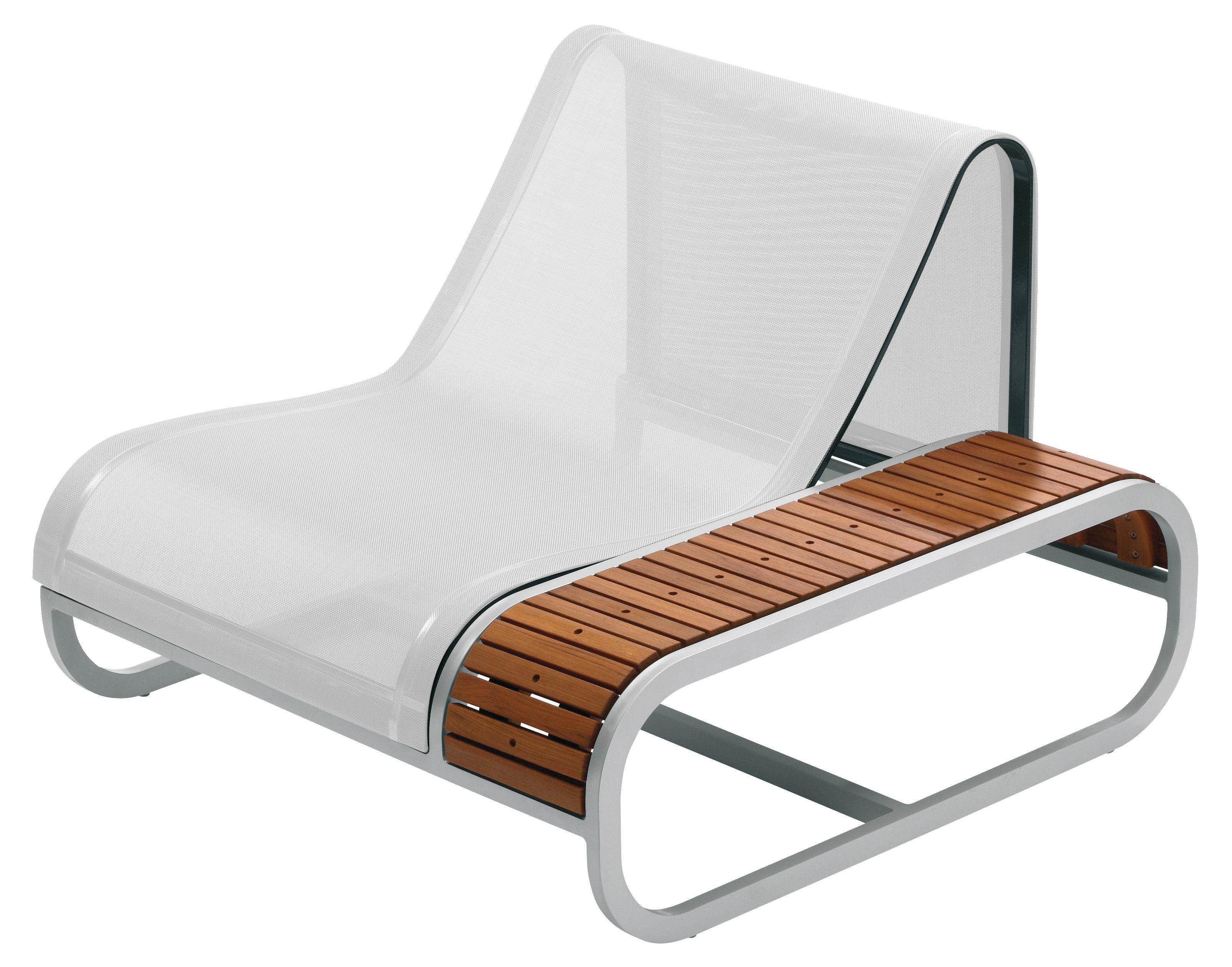 Outdoor - Gartensessel - Tandem Sessel Teak-Ausführung - Armlehne links - EGO Paris - Teak / Bezug weiß - Batyline® Bespannung, lackiertes Aluminium, Teakholz