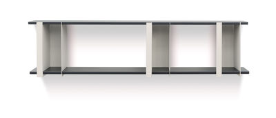 Furniture - Bookcases & Bookshelves - Opli 2 Shelf - / L 149 x H 37 cm by Presse citron - Light beige / Charcoal - Lacquered steel