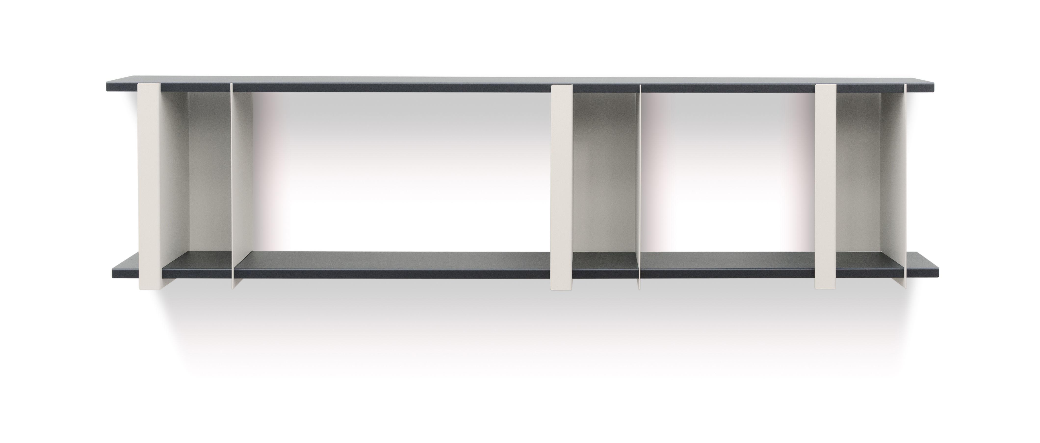 Furniture - Bookcases & Bookshelves - Opli 2 Shelf - / L 149 x H 37 cm by Presse citron - Light beige / Charcoal - Lacquered steel