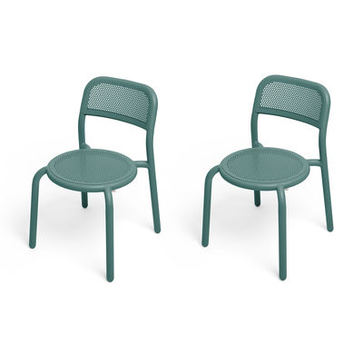 Furniture - Chairs - Toní Stacking chair - / Set of 2 - Perforated aluminium by Fatboy - Fir-tree green - Powder-coated aluminium