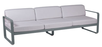 Furniture - Sofas - Bellevie Straight sofa - 3 seats / L 235 cm – Grey-white fabric by Fermob - Storm grey / White fabric - Acrylic fabric, Foam, Lacquered aluminium