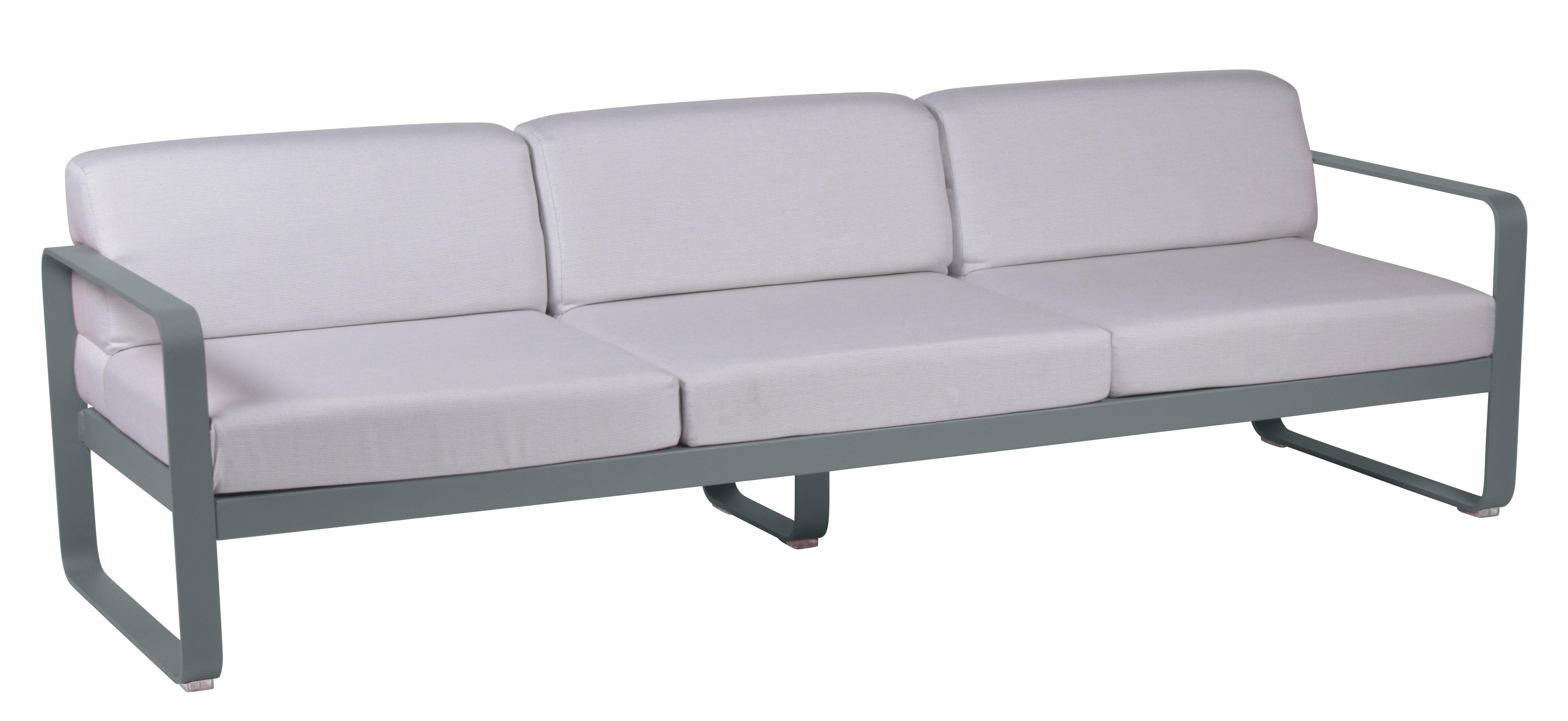 Furniture - Sofas - Bellevie Straight sofa - 3 seats / L 235 cm – Grey-white fabric by Fermob - Storm grey / White fabric - Acrylic fabric, Foam, Lacquered aluminium