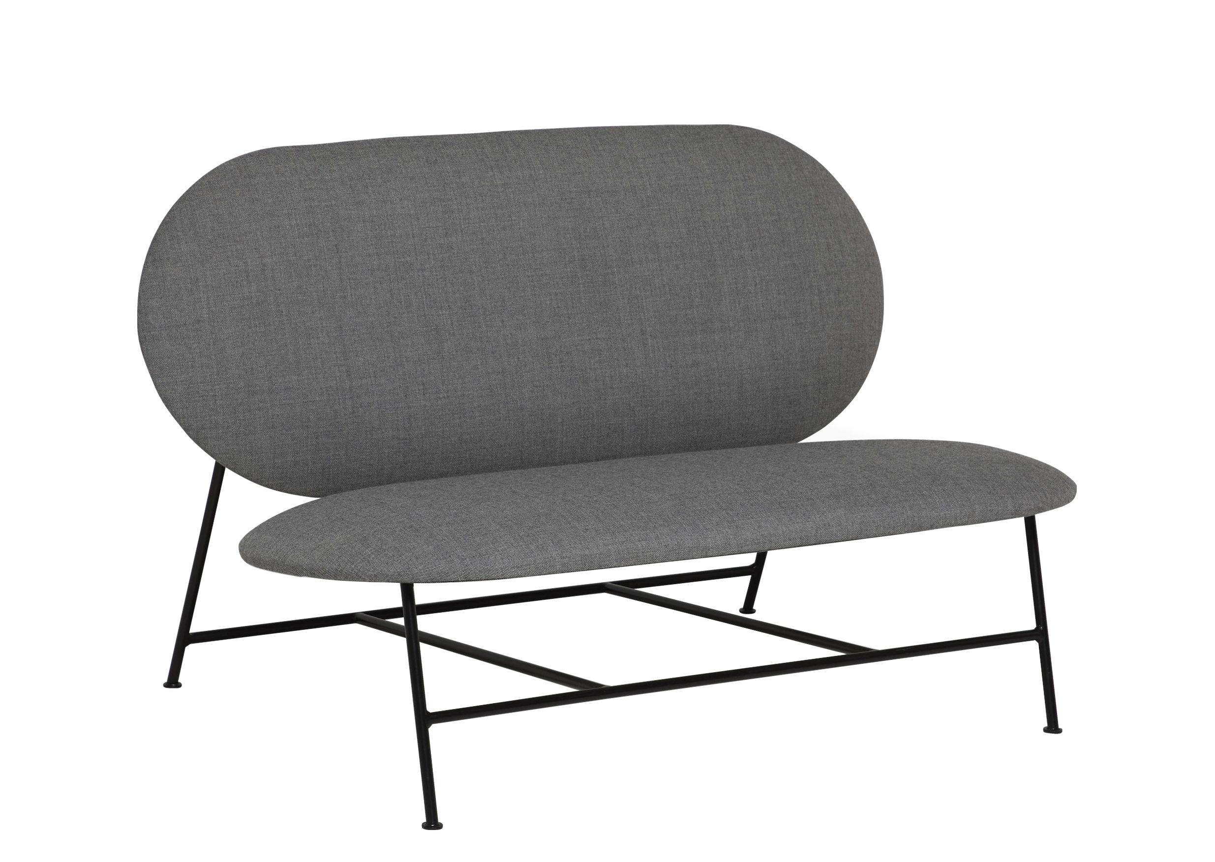Furniture - Sofas - Oblong Straight sofa - / L 120 cm by Northern  - Grey - Fabric, Foam, Lacquered steel