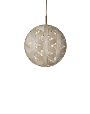 Luminaire - Suspensions - Suspension Chanpen Hexagon / Ø  26 cm - Forestier - Beige / Motifs triangles - Abaca tissé