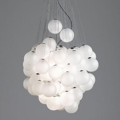 Suspension Stochastic LED / 48 éléments - Ø 40 cm - Luceplan blanc satiné en métal