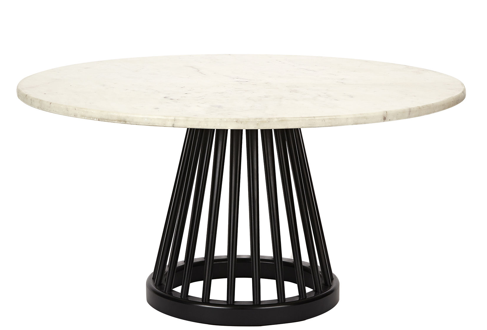 Mobilier - Tables basses - Table basse Fan / Ø 90 cm - Tom Dixon - Structure noire / Plateau marbre blanc - Bouleau teinté, Marbre
