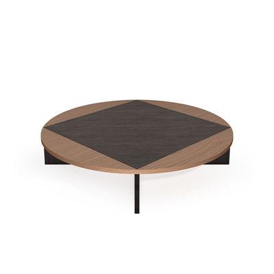 Mobilier - Tables basses - Table basse Tavla / Ø 120 cm - Marqueterie de noyer - Petite Friture - Noyer & noir - Noyer