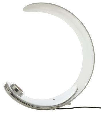 Lighting - Table Lamps - Curl Table lamp - LED by Luceplan - White / Chromed base - Polished aluminium, Technopolymer