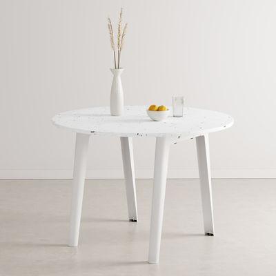 Mobilier - Tables - Table ronde New Modern / Ø 108 cm - Plastique recyclé / 4 à 6 personnes - TIPTOE - Blanc Nuage - Acier thermolaqué, Plastique recyclé