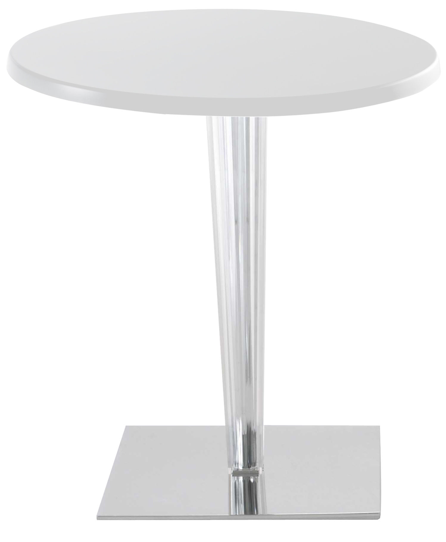 Mobilier - Tables - Table ronde Top Top / Laquée - Ø 70 cm - Kartell - Blanc/ pied carré - Aluminium, PMMA, Polyester laqué