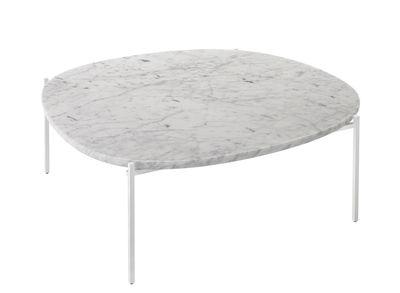 Arredamento - Tavolini  - Tavolino Niobe - / Marmo - 110 x 101 cm di Zanotta - Marmo bianco / Struttura bianca - Acciaio, Marmo bianco di Carrara