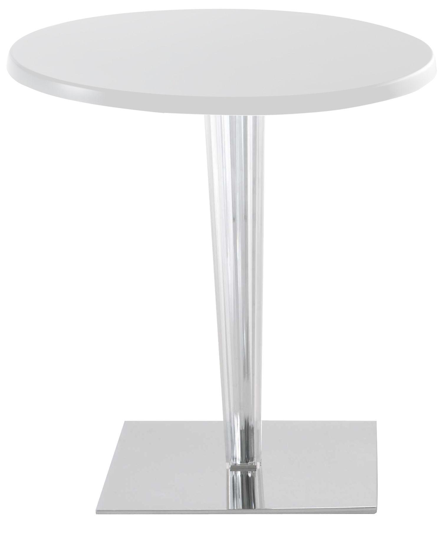 Arredamento - Tavoli - Tavolo rotondo Top Top - Piano laccato rotondo di Kartell - Bianco/ piede quadrato - Alluminio, PMMA, Poliestere laccato