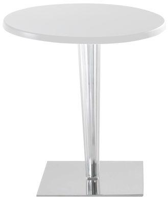 Möbel - Tische - Top Top Tisch mit runder Tischplatte lackiert - Kartell - Weiß / Fuß rund - Aluminium, lackiertes Polyester, PMMA