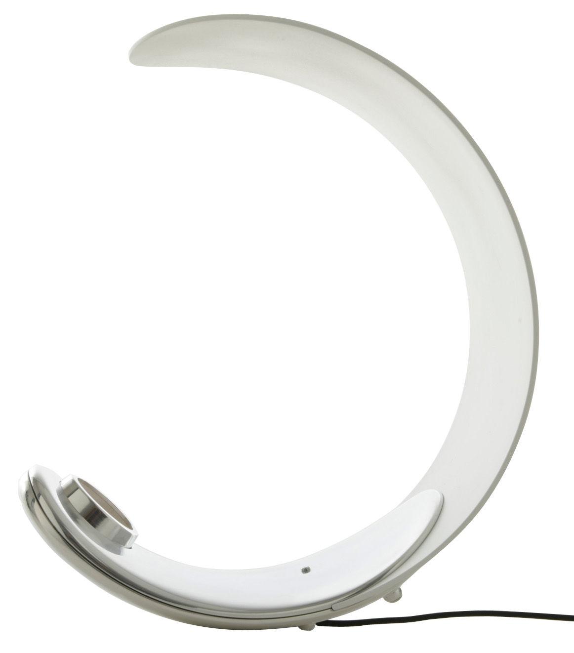Leuchten - Tischleuchten - Curl Tischleuchte LED / Lichttemperatur, -farbe und -intensität variabel - Luceplan - Außen chromglänzend - innen weiß - poliertes Aluminium, Technoplymer
