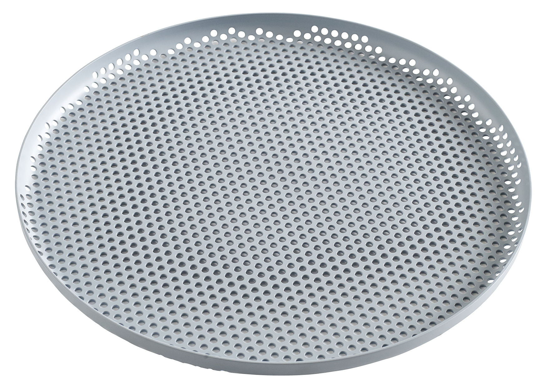 Tableware - Trays - perforé Tray - / Large - Ø 35 cm by Hay - Grey-blue - Perforated aluminium