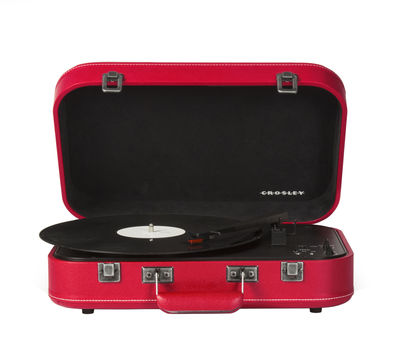 Accessories - Speakers & Audio - Coupe Turntable - / portable - Bluetooth by Crosley - Red / Imitation leather - Felt, Imitation leather, Plastic material, Wood