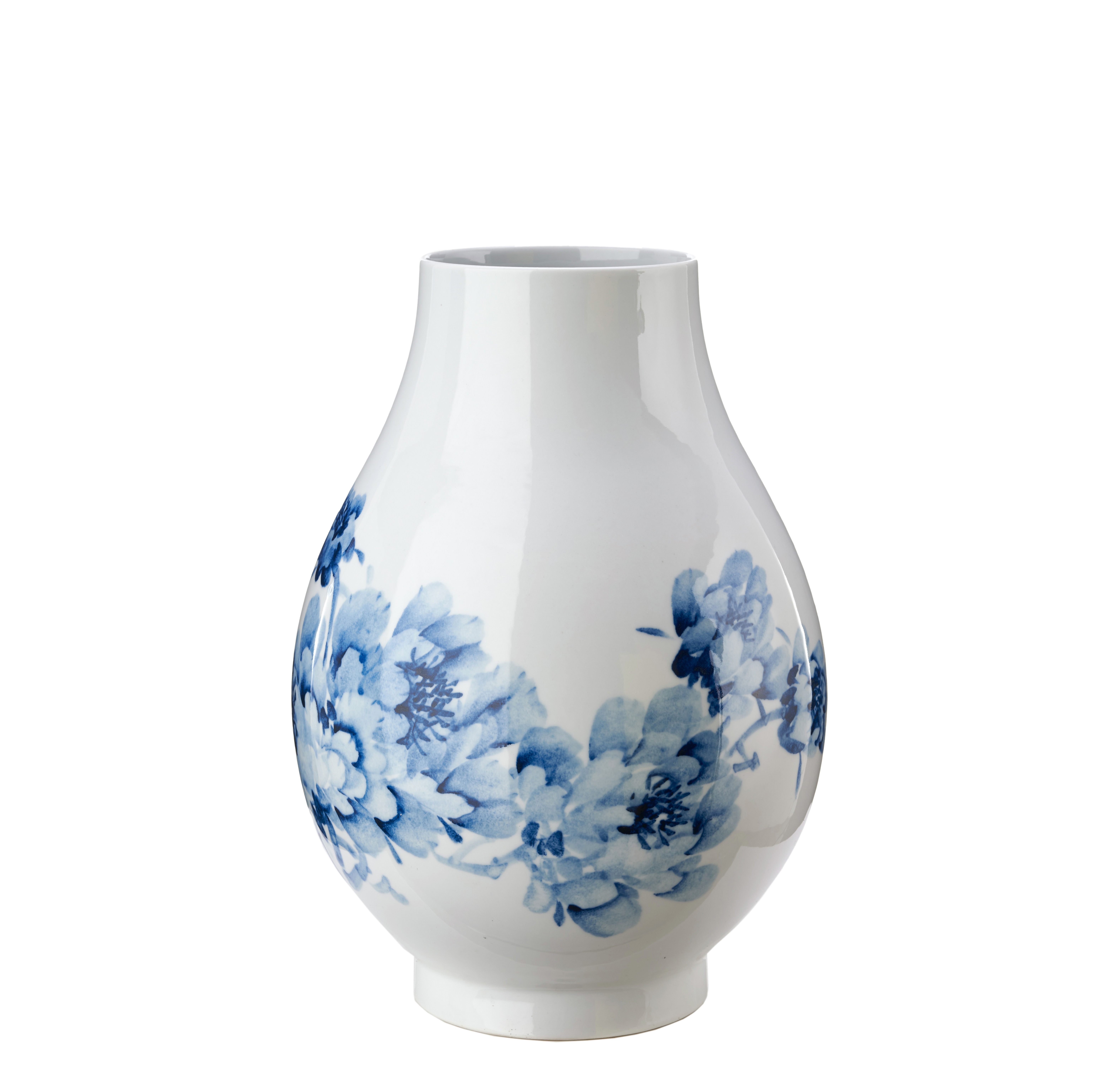 Interni - Vasi - Vaso Peony - / Ø 28 x H 40 cm di Pols Potten - Blu - Porcellana vetrificata