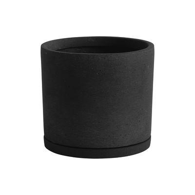 Interni - Vasi e Piante - Vaso per fiori XXL - / Ø 24 x H 22 cm - Polystone / Sottovaso integrato di Hay - Nero - Pietra artificiale