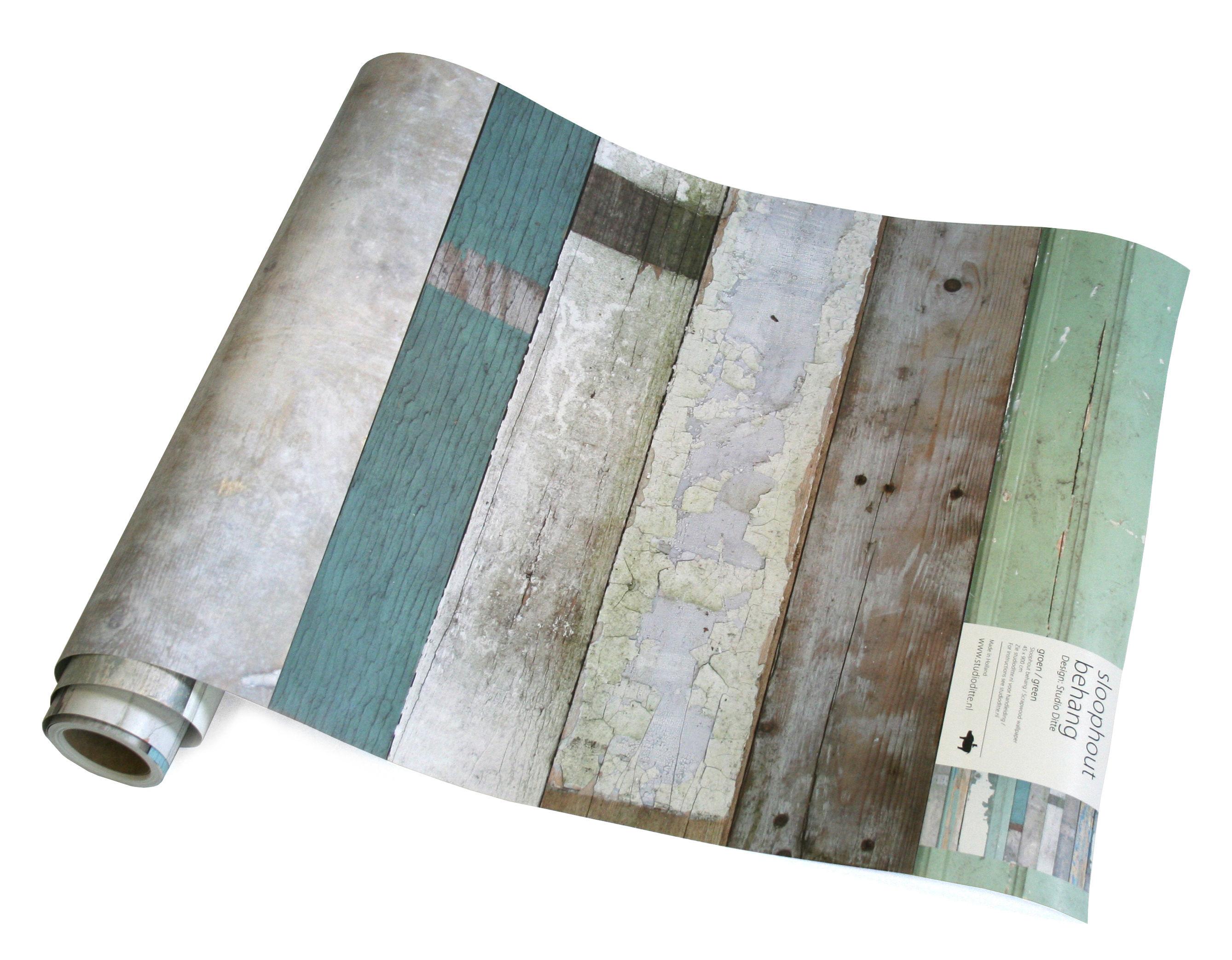 Decoration - Wallpaper & Wall Stickers - Scrapwood Wallpaper - 1 roll by studio ditte - Green - wallpaper
