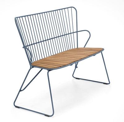 Banc Paon / L 116 cm - Métal & bambou - Houe bleu/bois naturel en métal/bois