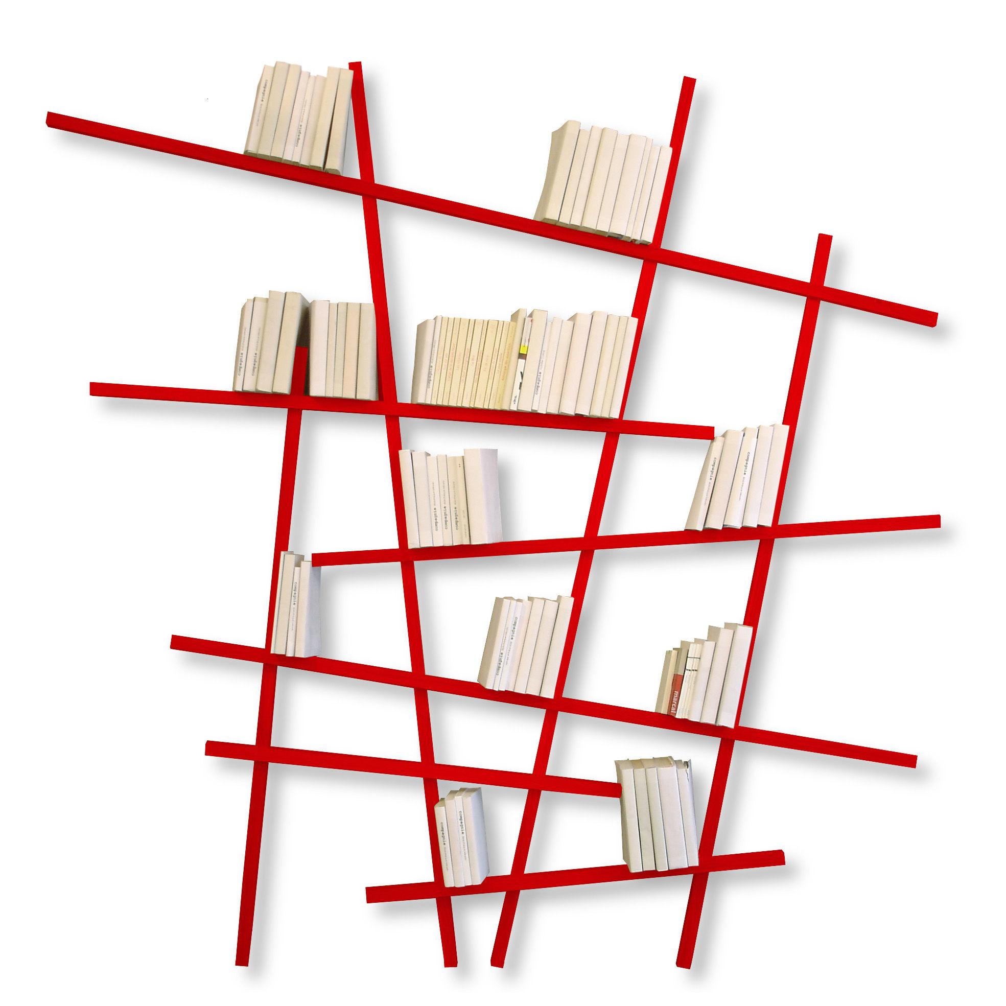 Mobilier - Etagères & bibliothèques - Bibliothèque Mikado Large / L 215 x H 220 cm - Compagnie - Rouge - Hêtre laqué