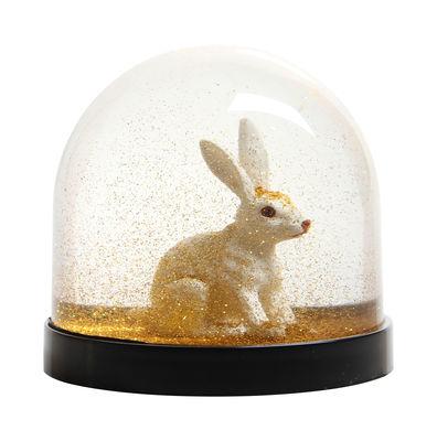 Boule à neige / Lapin - & klevering blanc/or en matière plastique
