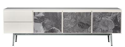 Buffet Voltaire / L 240 cm - 3 portes tissu - Diesel with Moroso blanc/gris en tissu/bois