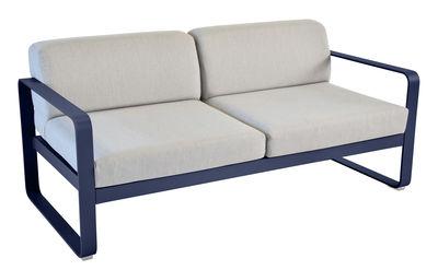 Canapé droit Bellevie 2 places / L 160 cm - Tissu blanc - Fermob blanc,bleu abysse en métal