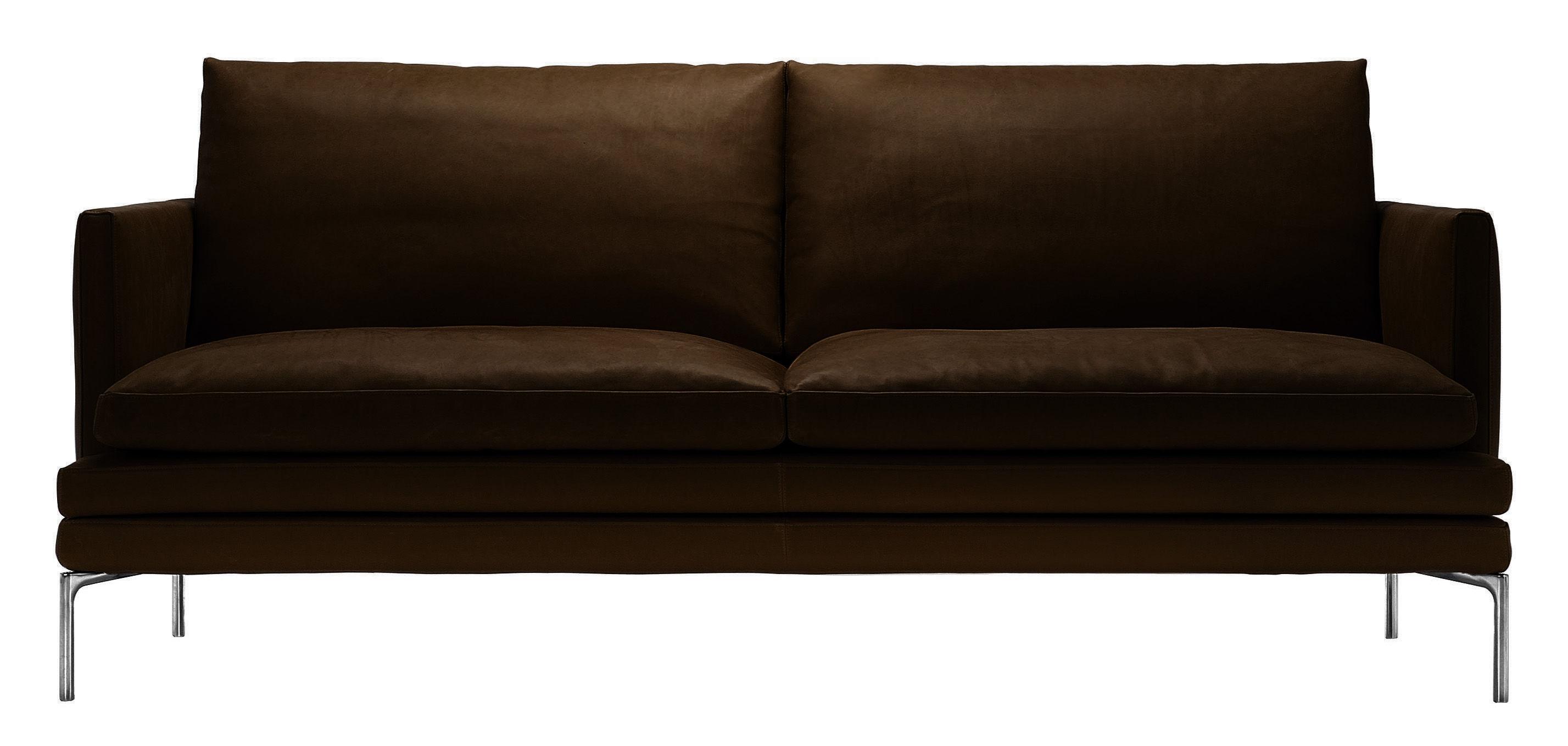 Mobilier - Canapés - Canapé droit William / Cuir - 2 places - L 180 cm - Zanotta - Marron foncé - Aluminium poli, Cuir