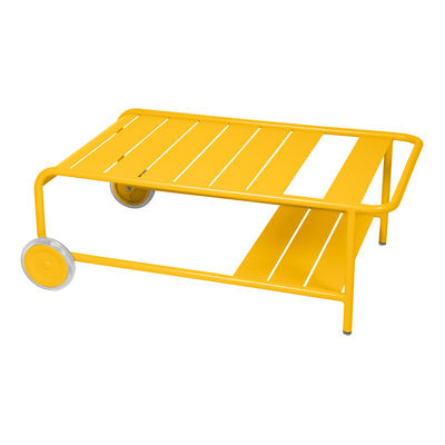 Furniture - Coffee Tables - Luxembourg Coffee table - / With wheels 105 x 65 cm by Fermob - Honey - Aluminium