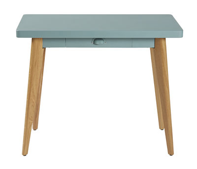 Furniture - Console Tables - 55 Console - With drawer - Wood legs by Tolix - Lichen green / Wood legs - Lacquered recycled steel, Solid oak