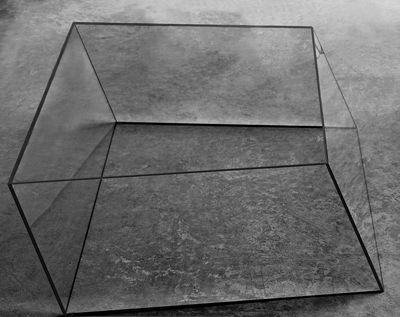 Möbel - Couchtische - Wireframe Couchtisch 75 x 87 cm - Glas Italia - Transparent - schwarze Kanten - Hartglas