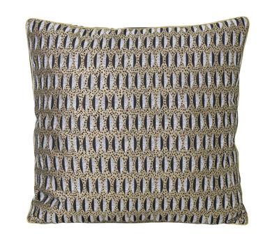 Decoration - Cushions & Poufs - Salon - Feuille Cushion - / 40 x 40 cm by Ferm Living - Gold, grey & black - Mixed-fibre, Velvet