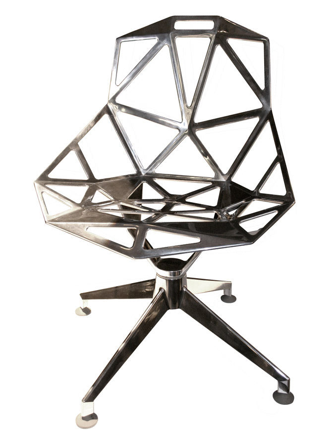 Mobilier - Chaises, fauteuils de salle à manger - Fauteuil pivotant Chair One 4Star / Version alu poli - Magis - Alu poli - Fonte d'aluminium poli