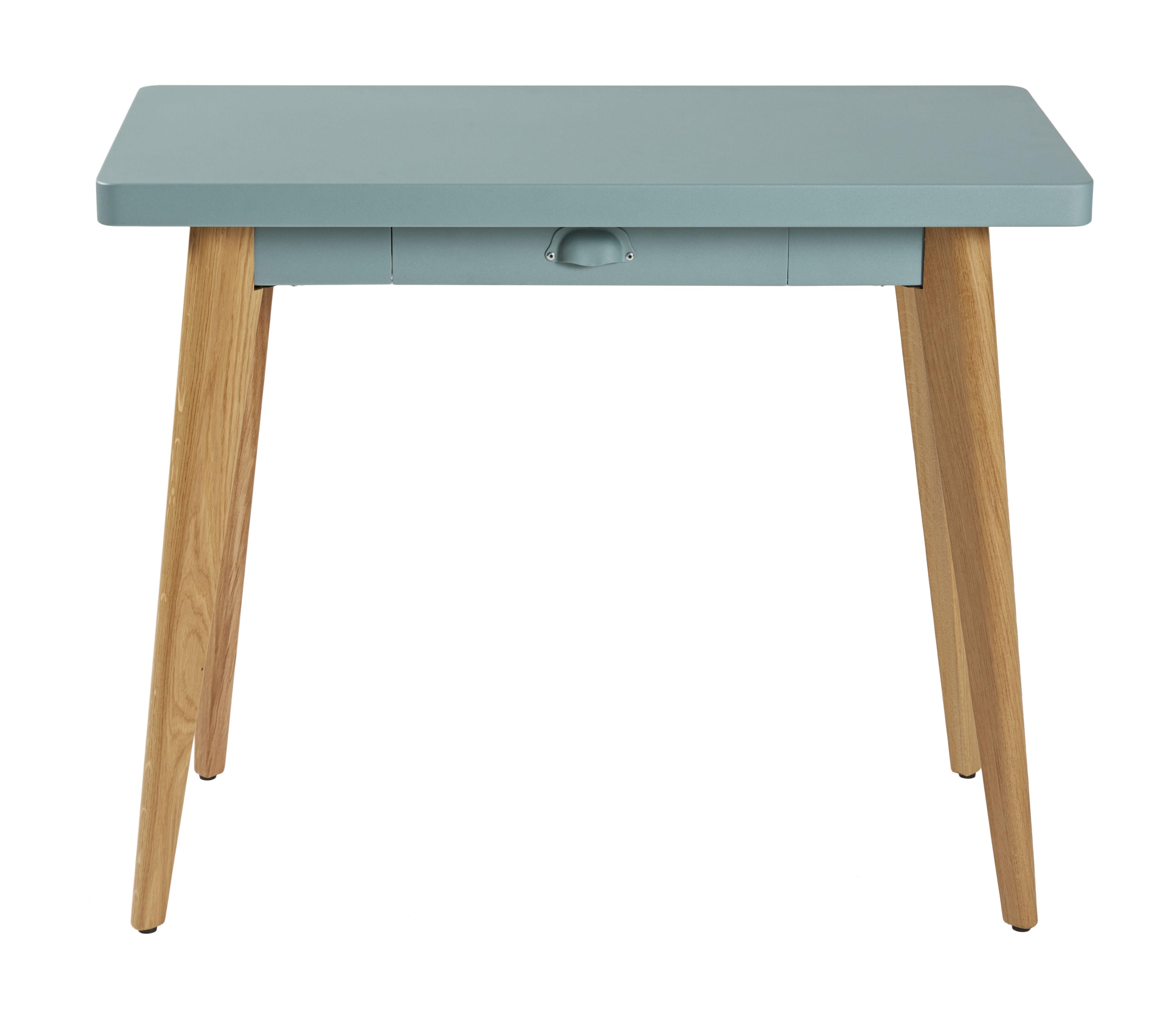 Möbel - Konsole - 55 Konsole / mit Schublade - Metall & Füße aus Holz - Tolix - Graugrün / Stuhlbeine holzfarben - Lackierter recycelter Stahl, massive Eiche