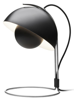 Luminaire - Lampes de table - Lampe de table FlowerPot VP4 / H 36 cm - By Verner Panton, 1969 - &tradition - Noir mat - Aluminium laqué