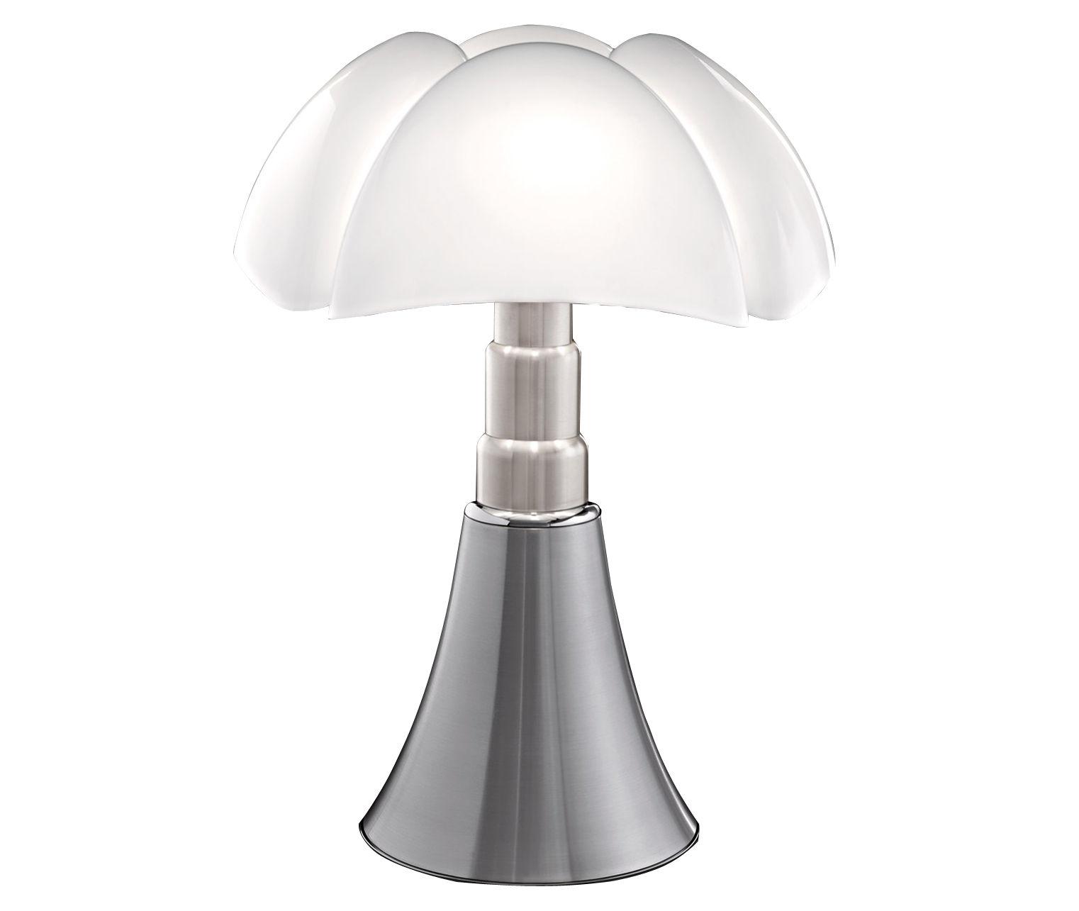 Luminaire - Lampes de table - Lampe de table Pipistrello / H 66 à 86 cm - Martinelli Luce - Aluminium satiné / Abat-jour blanc - Acier galvanisé, Aluminium laqué, Méthacrylate opalin