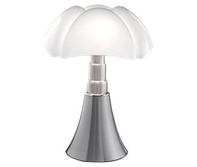Lampe de table Pipistrello / H 66 à 86 cm - Martinelli Luce blanc,aluminium satiné en métal