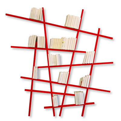 Arredamento - Scaffali e librerie - Libreria Mikado - colorata - Modello grande di Compagnie - Rosso - Faggio laccato