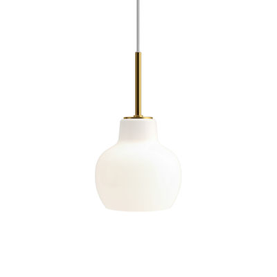 Lighting - Pendant Lighting - VL Ring Crown Pendant - / Ø 19 cm - 1940 reissue by Louis Poulsen - White / Brass - Brass, Mouth blown glass