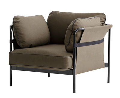Arredamento - Poltrone design  - Poltrona imbottita Can - Hay - Kaki / Struttura nera / Tessuto sui lati : kaki - Espanso, Metallo, Tessuto